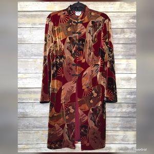 Clio L velvet Asian fan velvet tunic dress jacket